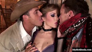 Sexy cowgirl dick thirst quenched with double penetration
