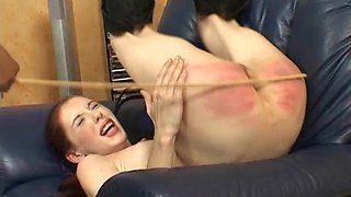 Naughty Caned Thief gets punished with a whip on the couch