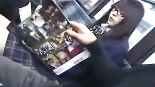 schoolgirl seduced and fucked by geek on bus