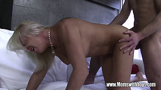Blonde Mom Fucks Young Stepson As Bribe