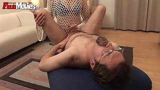 Marga sucks her man's cock before fucking him with a strapon