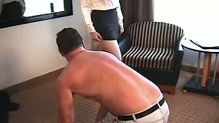 Lustful chick Mary Jane is trampling and making man suck her feet