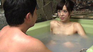cute japanese couple have some sensual lovemaking in the bathtub
