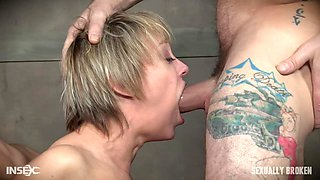 Bonnie Day and Dee Williams tied back to back and abused in a dungeon