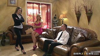 Sex instructor watches kinky macho licking vagina of his busty blond babe