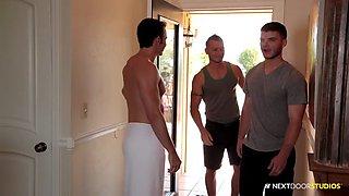 next door buddies massage by the pool threesome fuck