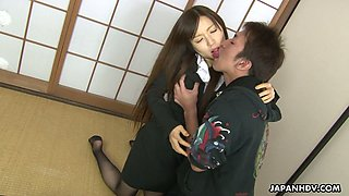 Nasty Japanese girl Hitomi Tsukishiro gets her muff rammed and creampied