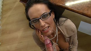 POV blowjob by slender business woman