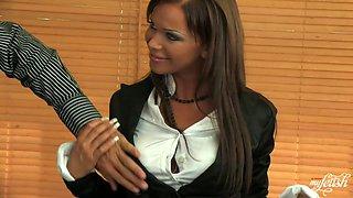 Sexy brunette secretary sucks dick standing on her knees