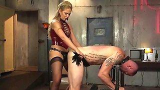 Blonde mistress pegging slave's asshole!