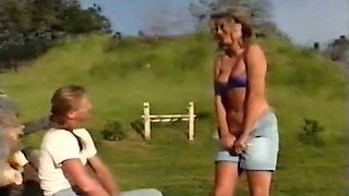 Beautiful hot blondie outdoors feeling horny for young man
