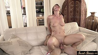 Teen babe banged and blasted with warm cum