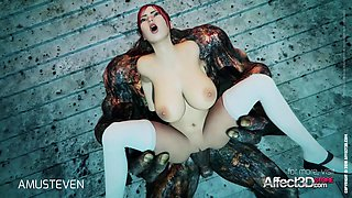 3d animation moster sex with a red head big tits babe