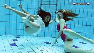 Hot underwater teens in the pool