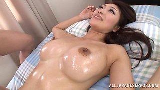 Oiled up Reiko Kobayaka gets fucked nice and deep