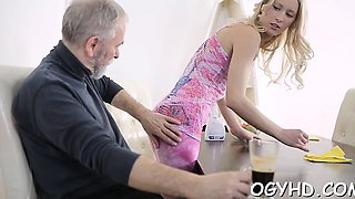 Young babe enjoys getting old one-eyed monster in pussy