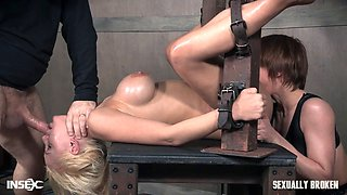 Tied up big titty blonde gets punished and cum on