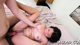 Oriental chick enjoys a cock ride and gets cookie creamed