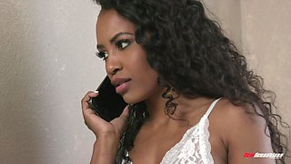 Curly haired ebony babe Demi Sutra gets a hardcore pussy fuck
