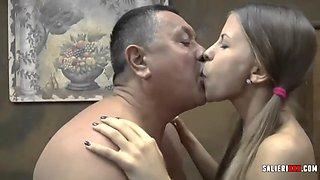 deep kiss and fucking grandpa