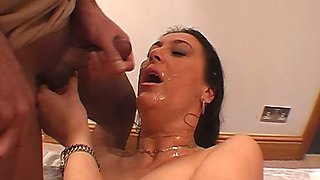 Amateurs take cum into mouths and on big tits