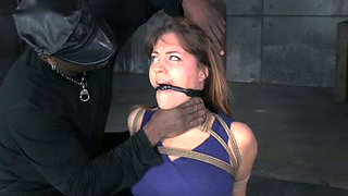 Tied up chick gets her muff punished by horny black stud
