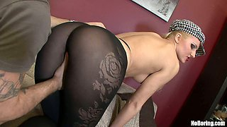 Dirty blonde babe in black pantyhose looks so seductive