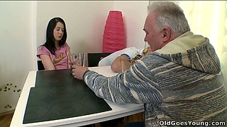 Pretty brnette seduced by an old man next to her sleeping cuckold BF