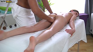 White oiled up sweetie sucks BBC of her cute massage therapist