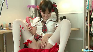 Cute Asian chick Lune fucks herself with favorite dildo toy