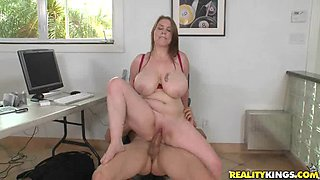 Bitch with huge natural tits gets slammed!!!
