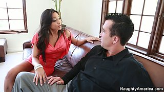 Horny latina babe Adrianna Luna blows American hunk in tuxedo
