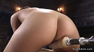 Pear shaped ass babe fucks machine