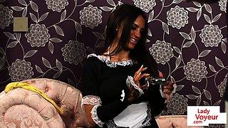 English maid voyeur instructing guy to jerk