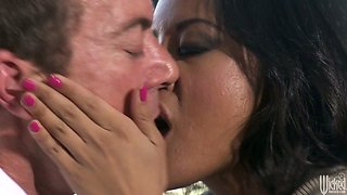 Sexited Kaylani Lei gives a stout blowjob to the strong cock of the detective