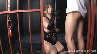 Hot Japanese slut in leather enjoys being fucked as sex slave in BDSM film