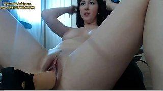 Hot brunette milf with sex machine