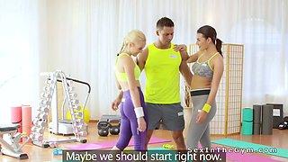 Yoga teacher bangs two good students
