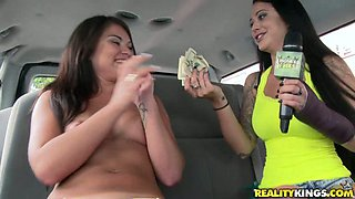 Two raven haired chicks played with one big pussy pump incar