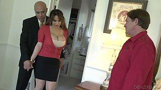 Kinky husband allows his friend to fuck busty whore wife Alyssa Lynn