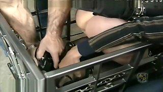 Bondage girl in cage