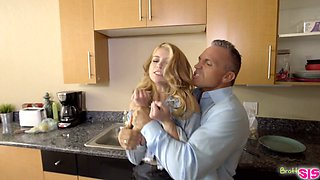 Lovely blonde Arya Fae hooks up with her perverted rude stepdad
