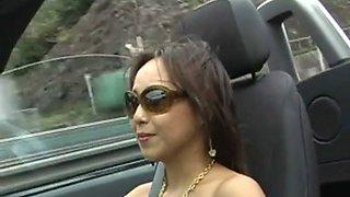 girl in sexy sheer dress driving car film