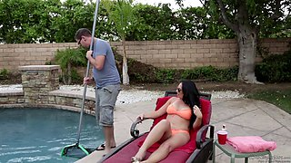 Lonely brunette with big tits fucks the pool guy after masturbating