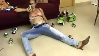 Drunk girl wetting