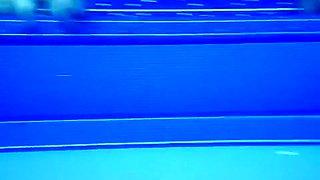 Underwater sex in the pool at the nudist resort