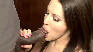 big black cock deepthroat and anal sex in the kitchen for brunette
